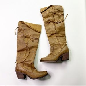 Rocket Dog Brown Suede Tall Boots Heeled Tan Knee